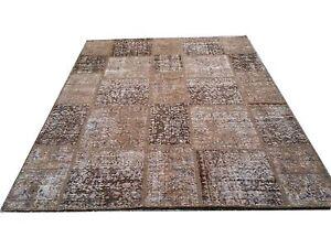 CUSTOM BROWN  vintage Overdyed Rug Handmade Turkish Patchwork Carpet rug