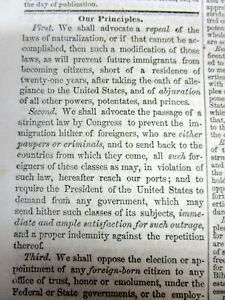Rare 1855 KNOW NOTHING PARTY newspaper lists their ANTI-IMMIGRANT PRINCIPLES