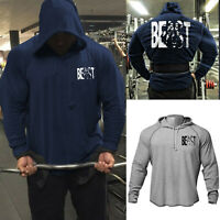 Men's Fitness Gym Front Back Print Beast Bodybuilding Raglan Hoodies Sweatshirts