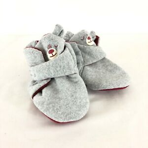 Cat & Jack Baby Crib Shoes Soft Fabric Bear Gray Red Size 6-9 Months