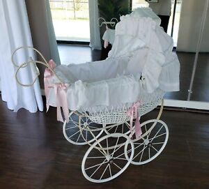 ATQ VTG White Wicker Victorian Baby Stroller Doll Carriage w Bedding