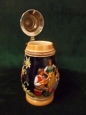 Vintage Barrel-shaped Colorful Beer Stein w/Pewter Lid~Music Scene ~Germany~ St5