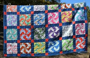 "81x96""  colorful 'twisted star' quilt   flaws CUTTER"