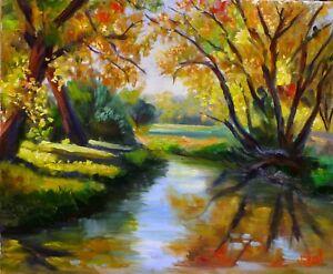 Original landscape oil painting of Autumn colours by Chris Vidal
