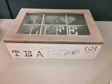 White Rustic Wooden  6 Compartment Tea Storage Box