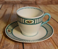 Royal Doulton Demi Tea Cup & Saucer 9310 Vintage Fruit Green Bands 1902-22