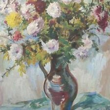 Monogrammist dat.1958 - Stilleben mit  DAHLIEN  Tonvase still life expressionism