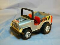 POLISTIL TONKA SUPER JEEP RALLY  SILVER MADE IN HONG KONG PULL BACK CAR TOY