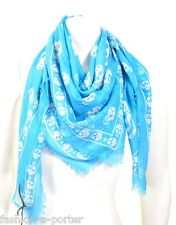 ALEXANDER McQUEEN SKY BLUE & WHITE CLASSIC SKULL PASHMINA SCARF BOLD CLOURS BNWT
