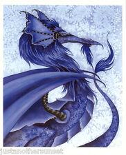 Amy Brown Print Ice Dragon Blue Fantasy Art Room Decor Water Elemental Element