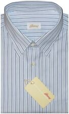 $595 NEW BRIONI WHITE w ALTERNATING SKY BLUE & L BLUE STRIPE DRESS SHIRT VI 17.5