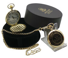 BOSS Personalised 24k Gold Clad Pocket Watch CUSTOM Engraved FREE IN LUXURY CASE