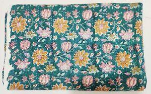 Kantha Quilt Bedspread Blanket Cotton Coverlet Bedding Indian Hand Block Print V