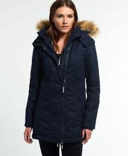 Womens Superdry Microfibre Tall Windparka Jacket Navy Size S