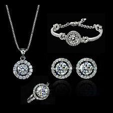 Chic 18K White Gold GP Crystal Earrings Necklace Bracelet Ring Set Sa04