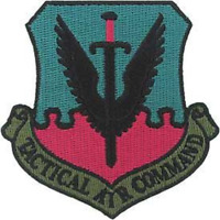 """UNITED STATES  AIR FORCE  """"TACTICAL AIR COMMAND"""" PATCH   3""""  x 3"""" SUBDUED"""