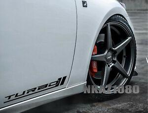 TURBO Decal Sticker Racing Sport Performance Motorsport Car Emblem Set of 2 Pair