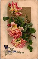 Vintage Postcard Roses With The Best New Year Wishes Unposted