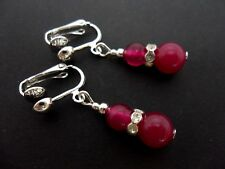 A PAIR OF PINK JADE SILVER PLATED DROP DANGLY CLIP ON EARRINGS. NEW.