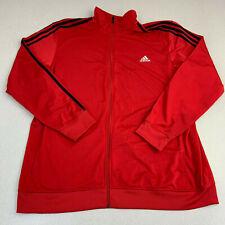 Adidas Track Jacket Mens 2XL Red Long Sleeve Full Zip Striped Mock Neck Running