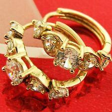 FS536 GENUINE 18K YELLOW G/F GOLD SOLID DIAMOND SIMULATED HUGGIE HOOP EARRINGS