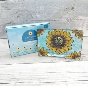 Sunflower Floral Rectangle Glass Dish Home Decor Gift Ornament Trinket Plate