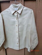 "CHANEL Classic Bige LINEN Pintuck Pleats & Gold Logo Buttons Shirt Blouse Sz""M"