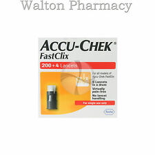FASTCLIX Accu Chek Lancets 200 + 4 New Box For Blood Glucose Test 34x6 lancets