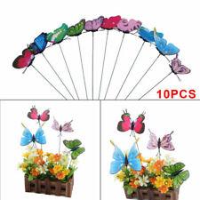 10pcs Artistic Garden Ornaments Butterfly On-Sticks Home Outdoor Patio Decor