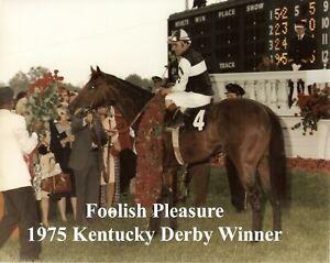 "1975 - FOOLISH PLEASURE in the Kentucky Derby Winners Circle - Color - 10"" x 8"""