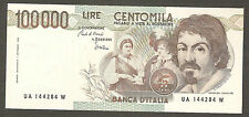 100.000 lire CARAVAGGIO I tipo SERIE A FDS ASS UNC 100000 Italy Notes
