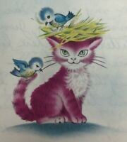 Vintage Greeting Card Cat Kitten Birds Nest Norcross Just Between Friends 1950's
