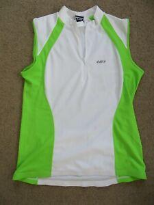 GREAT Louis Garneau LG white+green no-sleeve cycling jersey - womens XXL