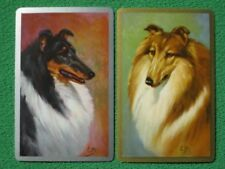 Beautiful Old Time Collie Dogs Art Portraits Vintage 1940's Swap Cards Mint WOW!