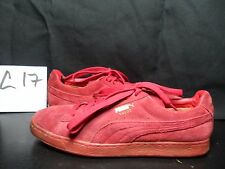Men's Puma Suede Emboss Red Suede Lace Up Sneakers Shoes Size 11