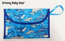 Baby Nappy Bag Wallet / Purse / Clutch * Happy Sharks Design  - FREE POST - NEW