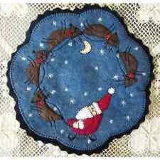 Christmas Penny Rug Candle Mat with Appliqued Folk Art Santa and Reindeer AL-074