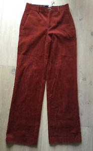 Zara Burt Orange Cords Corduroy Wide Leg Trousers Xs Worn Once