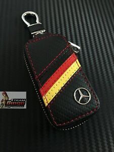 Mercedes Benz AMG High Quality Leather Key Fob Case Holder Perfect Fit Key Ring