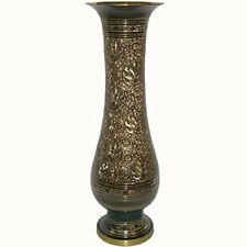 Black and Gold  Metal Brass Flower Vase Hand Crafted with Bidri Nakkashi Work