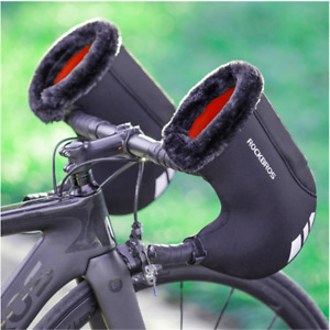 ROCKBROS Winter Cycling Gloves Thicken Reflective Warm Windproof Bicycle Mittens
