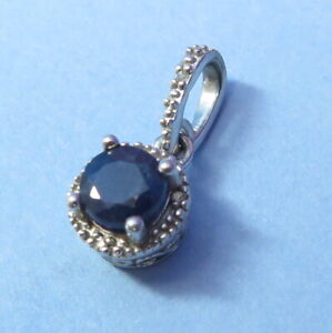 Refined SVI Sterling Silver Round Sapphire Pendant Illusion Setting