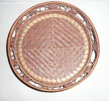 "Vintage Circular Round Woven Basket Tray 12"""