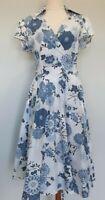 Target 12 M Casual White Blue Floral Print Short Sleeve Cotton Wrap Midi Dress