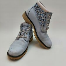 Timberland Blue Nubuck Leather Ankle Boots Lace Up Womens Size UK 7 Wide US 9