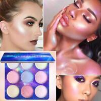 Damen Mädchen 9 Farben Face Glow Concealer Highlight Glitzerlidschatten Palette
