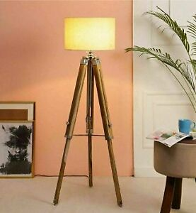 Tripod Floor Lamp Stand home office decorative light Wood Stand Adjustable