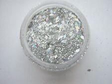 3g POT NOUVEAU NAIL   PRE-MIXED GLITTER ACRYLIC POWDER - SILVER-DIAMONDS