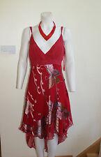 NWT Sonic, London, Silk Butterfly Raspberry Long Back Dress. 14 UK