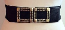 THICK ELASTIC WAIST BLACK BELT / CHUNKY GOLD SQUARE BUCKLE / ELASTICATED / 11